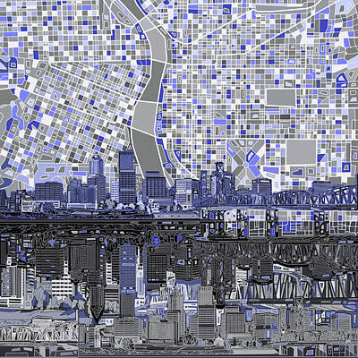 Poster featuring the digital art Portland Skyline Abstract Nb by Bekim Art