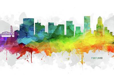 Portland Skyline Mmr-usorpo05 Poster by Aged Pixel