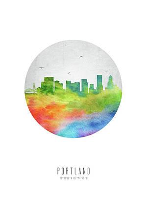 Portland Skyline Usorpo20 Poster by Aged Pixel