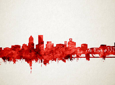 Portland Skyline Watercolor 3 Poster by Bekim Art