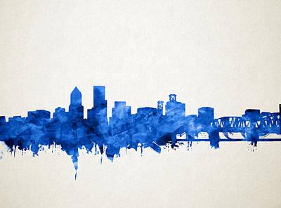 Portland Skyline Watercolor 4 Poster by Bekim Art