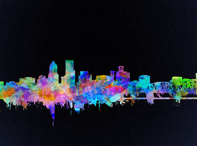 Portland Skyline Watercolor Poster