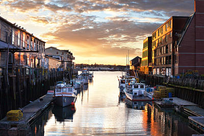 Portland Sunrise At The Custom House Wharf Poster by Eric Gendron