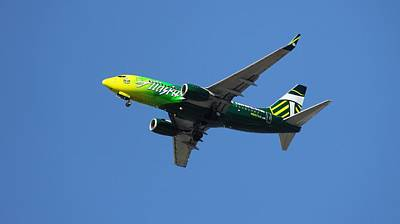 Aaron Berg Photography Poster featuring the photograph Portland Timbers - Alaska Airlines N607as by Aaron Berg