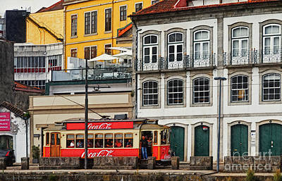 Porto Coca Cola Tram - Digital Drawing Poster by Mary Machare