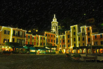 Portofino Italy - Night Shot Poster by Richard Krebs