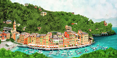Portofino, Italy Prints From Original Oil Painting Poster