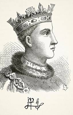 Portrait And Autograph Of King Henry V Poster by Vintage Design Pics