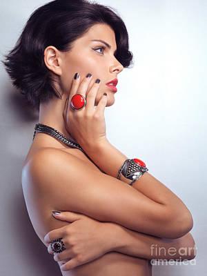Portrait Of A Beautiful Woman Wearing Jewellery Poster by Oleksiy Maksymenko