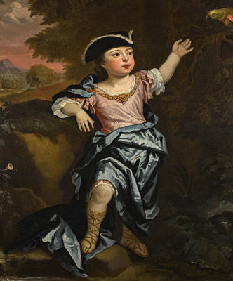 Portrait Of A Boy Full-length Wearing A Tricorn Hat Standing In A Landscape With A Parrot Poster by Follower of  Godfrey Kneller