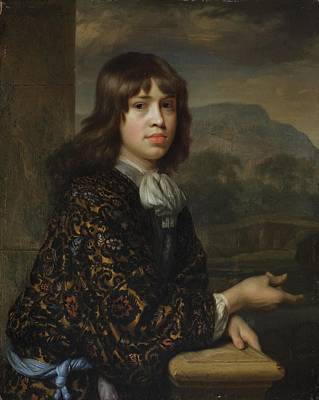 Portrait Of A Boy In A Gold Embroidered Robe Poster by Godfried Schalcken