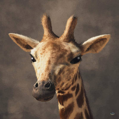 Poster featuring the digital art Portrait Of A Giraffe  by Daniel Eskridge
