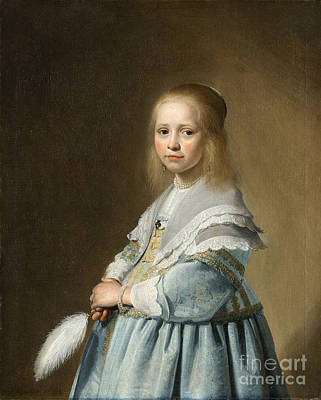 Portrait Of A Girl Dressed In Blue By J. Cornelisz Poster