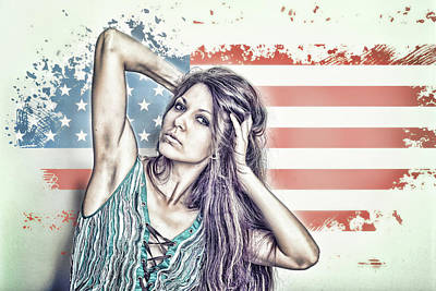 Portrait Of A Girl On The Background Of A Stylized Usa Map Poster