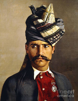 Portrait Of A Khattack In Military Headdress Poster