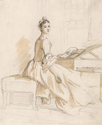 Portrait Of A Lady At A Drawing Table Poster