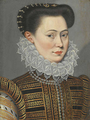 Portrait Of A Lady Head And Shoulders In A Lace Ruff Poster by Follower of Frans Pourbus the Younger
