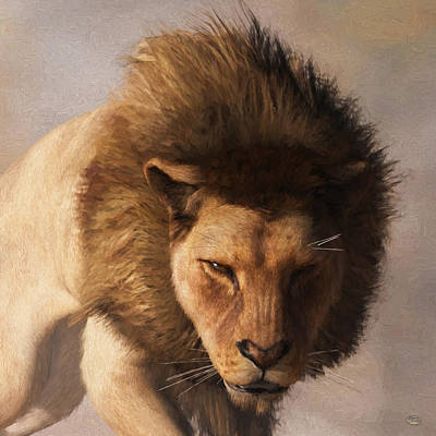 Poster featuring the digital art Portrait Of A Lion by Daniel Eskridge