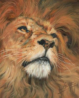 Poster featuring the painting Portrait Of A Lion by David Stribbling