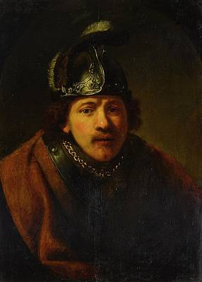 Portrait Of A Man In A Helmet Poster by Govert Flinck