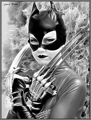 Portrait Of A Retro Cat Lady Poster