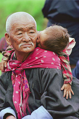 Portrait Of A Senior Bhutanese Man Poster