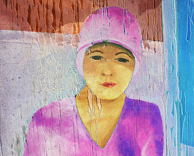 Portrait Of A Woman On A Downtown Wall Poster by Louis Nugent