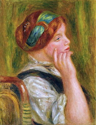 Portrait Of A Woman With Green Ribbon, 1905 Poster by Auguste Renoir