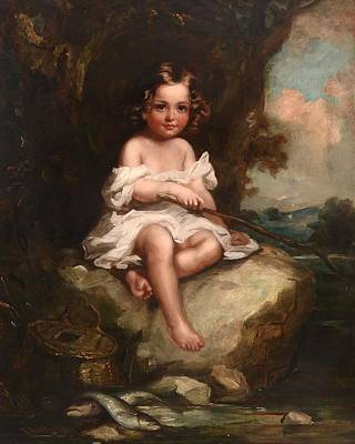 Portrait Of A Young Boy Sitting On A Rock Fishing Poster by Richard Buckner
