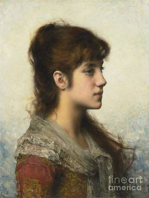 Portrait Of A Young Girl In Profile Poster by Celestial Images