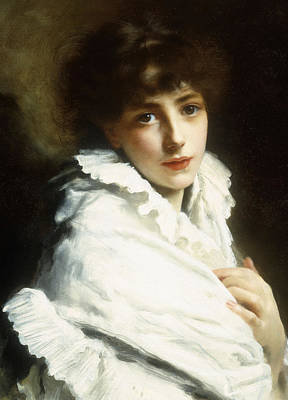 Portrait Of A Young Girl In White Poster by Gustave Jacquet