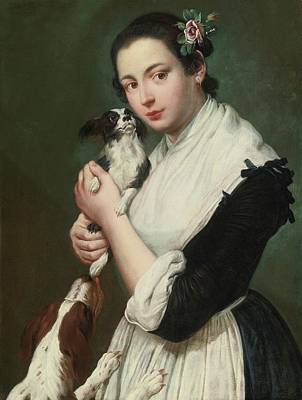 Portrait Of A Young Girl With Two Dogs Poster by MotionAge Designs