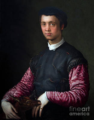 Portrait Of A Young Man With A Fawn, By Francesco Salviati, Circ Poster