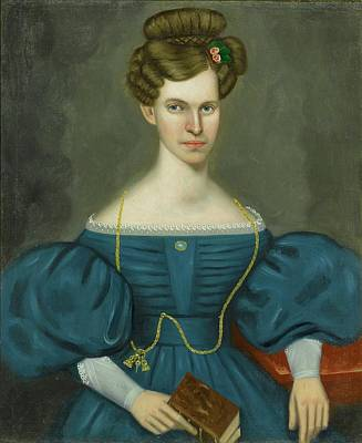 Portrait Of A Young Woman In A Blue Dress Poster by Erastus Salisbury