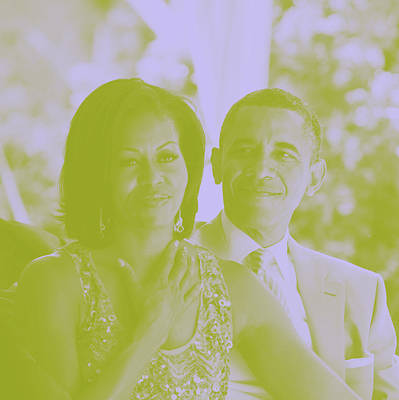 Portrait Of Barack And Michelle Obama Poster by Asar Studios