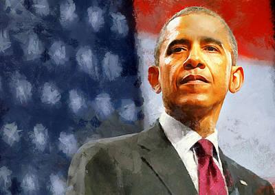 Portrait Of Barack Obama Poster by Charmaine Zoe
