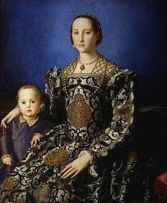 Portrait Of Eleanor Of Toledo With Her Son Giovanni De' Medici  Poster by Agnolo Bronzino
