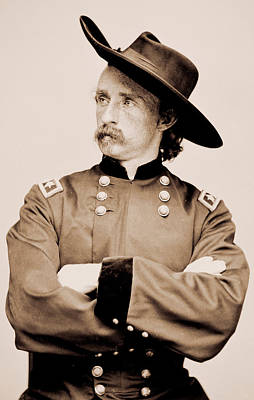 Portrait Of General George A Custer Poster by American School