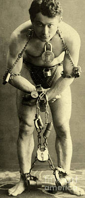 Portrait Of Harry Houdini In Chains, 1900 Poster