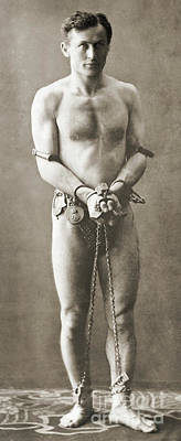 Portrait Of Harry Houdini In Chains, Circa 1900 Poster