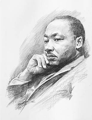 Portrait Of Martin Luther King Jr. Poster by Mei  He