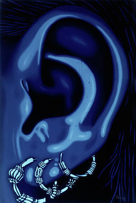 Portrait Of My Ear In Blue Poster