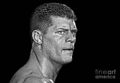 Portrait Of Pro Wrestler Cody Rhodes II Poster by Jim Fitzpatrick