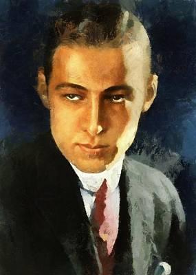Portrait Of Rudolph Valentino Poster