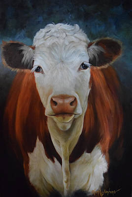 Poster featuring the painting Portrait Of Sally The Cow by Cheri Wollenberg