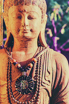 Portrait Of Stone Carved Buddha Statue Poster