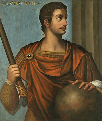 Portrait Of The Emperor Augustus Half Length Holding A Baton And Resting His Hand On A Globe Poster by Follower of Bernardino Campi