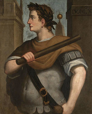 Portrait Of The Emperor Domitian Half Length Wearing A Laurel Wreath And Holding A Baton Poster by Follower of Bernardino Campi