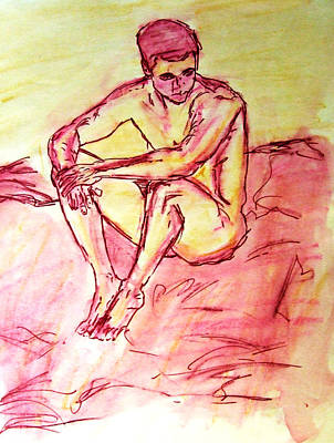 Portrait Of Thinking Young Male Seated Figure Nude Watercolor Painting In Purple Yellow Sketchy Poster
