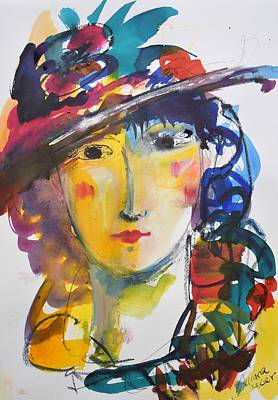 Portrait Of Woman With Flower Hat Poster